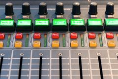 Mixing console. Sound mixer. Royalty Free Stock Photo