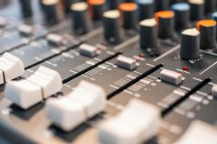 Mixing console. Sound mixer. Stock Photo