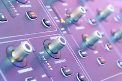 Mixing console. Sound mixer. Royalty Free Stock Photography