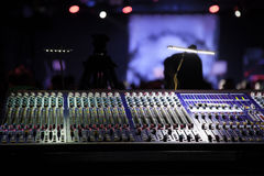 Mixing console. Work place sound engineer's. mixing console Royalty Free Stock Images
