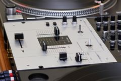 Mixing controller and turntables Stock Image