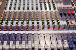 Mixing desk. Audio mixing console in a recording studio. Faders and knobs of a sound mixer royalty free stock image