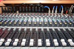 Mixing desk. On a photo mixing desk. Close up photos stock photo