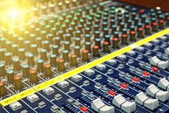Mixing desk. Background pattern close up Royalty Free Stock Photo