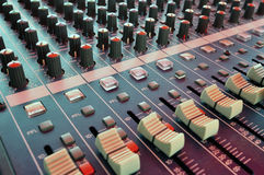 Mixing desk. Audio mixing console in a recording studio Royalty Free Stock Photo
