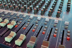 Mixing desk. Audio mixing console in a recording studio Stock Images
