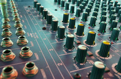 Mixing desk. Audio mixing console in a recording studio Royalty Free Stock Photos