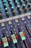 Mixing desk. Audio mixing console in a recording studio Stock Image
