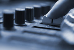 Mixing Desk. Studio mixing desk up-close. Short depth of field stock image