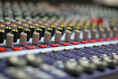 The Mixing Desk. A mixing panel at a live concert royalty free stock photos