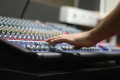 The Mixing Desk. A mixing panel at a live concert Stock Photos