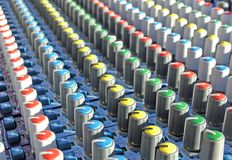 Mixing desk. Close up Royalty Free Stock Photo