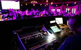 Mixing desk at large event. Johannesburg, South Africa, 23 October -2018: Mixing desk at large event royalty free stock photography