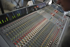 Mixing Desk. Recording studio, pro analogue mixing desk dating from the 90ies still in good working condition as can be seen, this one is in use as witnessed by Royalty Free Stock Photography