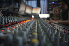 Mixing Desk. Recording studio, pro analogue mixing desk Royalty Free Stock Image