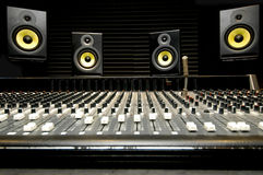 Mixing Desk With Speakers Royalty Free Stock Images