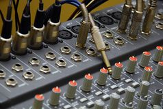 Mixing desks & jack audio connector Stock Photos