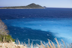 Mixing different colors of water in the Mediterranean, Turkey Royalty Free Stock Photography