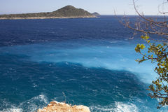 Mixing different colors of water in the Mediterranean, Turkey Stock Images