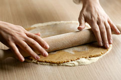 Mixing dough Royalty Free Stock Photography