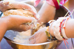 Mixing dough Stock Photography