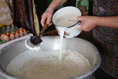 Mixing dough by female hands at home with old spoon Stock Photography