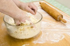 Mixing dough by hand (Recipe Series) Royalty Free Stock Image