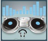 Mixing equipment. Nightclub mixing equipment on gray table vector illustration