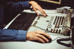 Mixing hands radio Royalty Free Stock Image