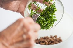 Mixing the ingredients to prepare kibbeh filling into a bowl Royalty Free Stock Images