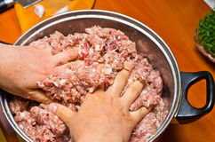Mixing minced meat Royalty Free Stock Photography