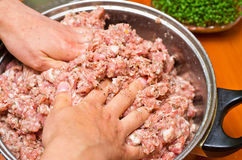 Mixing minced meat Stock Image