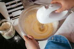 Mixing Muffin Cake Mixture Royalty Free Stock Photos