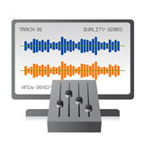 Mixing music tracks with mixer. Vector illustration of a digital mixer and desktop with monitor showing audio bars, related to post production and mixing in the vector illustration