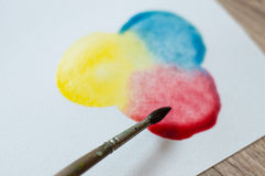 Mixing primary colors. BLOB of primary colors on paper stock photography