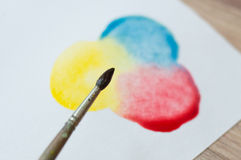 Mixing primary colors. On paper stock image