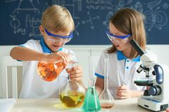 Mixing reagents Stock Images