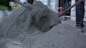 Mixing sand and lime stock video