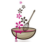 Mixing sauce. Cooking tastefull meal in the bowl vector illustration