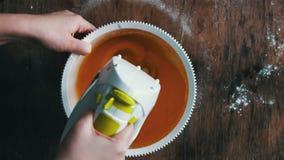 Mixing scrambling yolks Eggs stock video footage