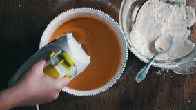 Mixing scrambling yolks Eggs stock video