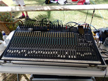 Mixing sound board set up for an annual event. Royalty Free Stock Photos
