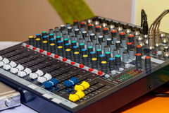 Mixing sound panel Royalty Free Stock Image