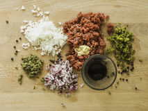 Mixing steak tartare ingredients in a bowl Royalty Free Stock Images