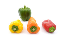 Mixing sweet pepper and green bell pepper Stock Photo
