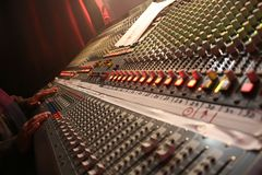 Mixing table. A mixing sound table in a concert royalty free stock image