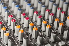 Mixing Table Knobs. Close up macro Royalty Free Stock Images