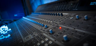 Mixing table. Sound mixing table working on a session Royalty Free Stock Photos