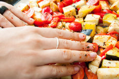 Mixing vegetables Stock Image