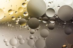 Mixing water and oil, beautiful color abstract background based on circles and ovals. A combination of oil and water, a fantastic abstract macro background with Royalty Free Stock Photo